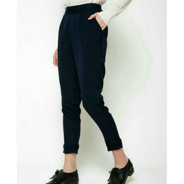 Celana long basic navy, Preloved Fesyen Wanita, Pakaian Wanita di Carousell