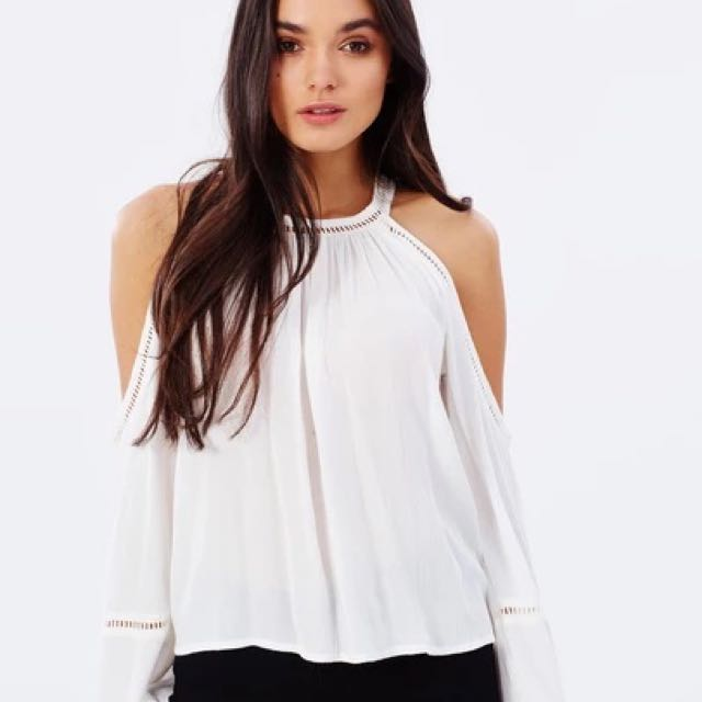 Cold Shoulder White Bohemian Top