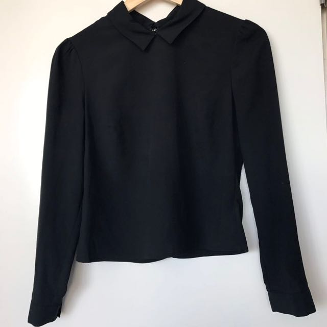 Collared Black Blouse