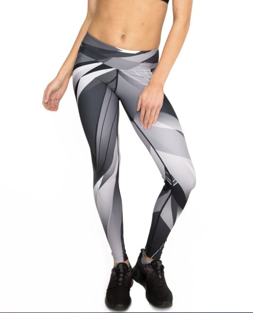 Dharma Bums Standard Waist Full Length Leggings in Geometric Shadow