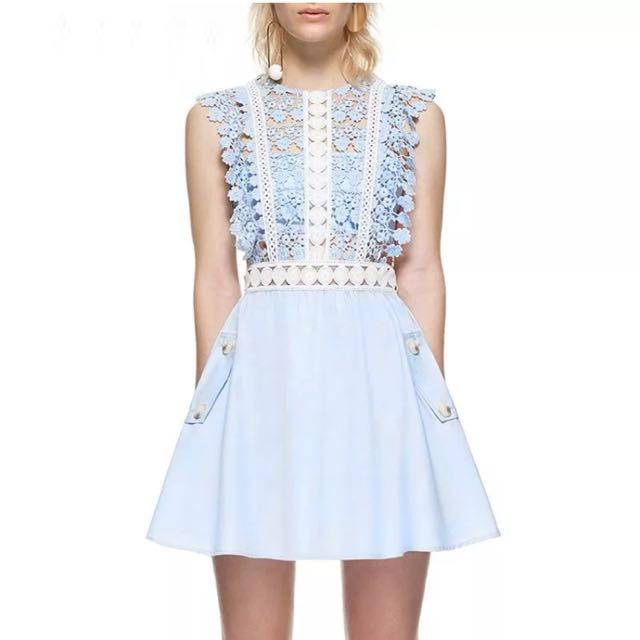 Floral Lace Embroidered Blue Dress