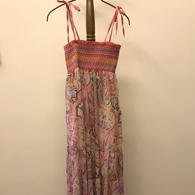 🌈fun fun store🦄粉色變色蟲綁帶平口長洋裝