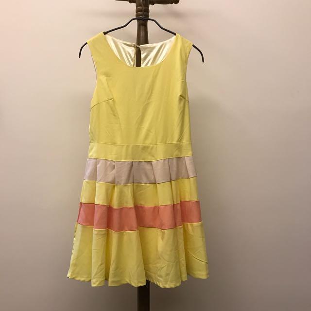 🌈fun fun store🦄黃色蛋糕層小洋裝