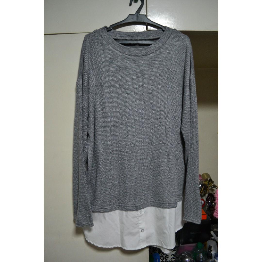 Gray Pullover w/ Polo Bottom