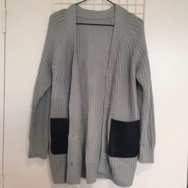Grey Knit Coat With Pu Pockets