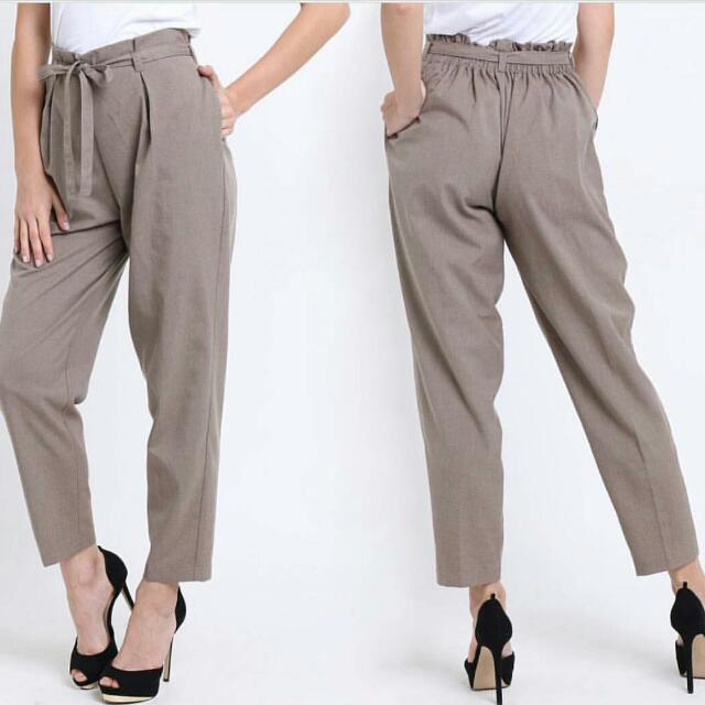Hi Waist Tie Trouser By Shoptherapee