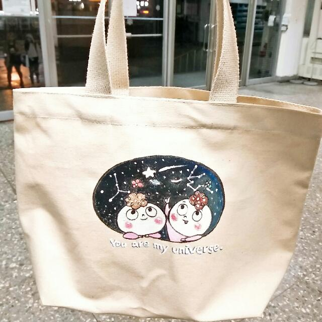 純手工J.HO手繪設計帆布小餐袋