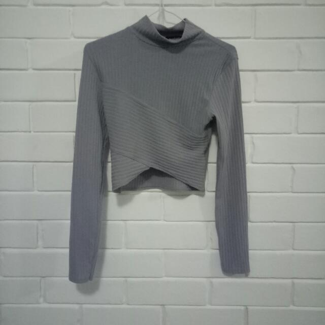 Long Sleeve High Neck Grey Crop