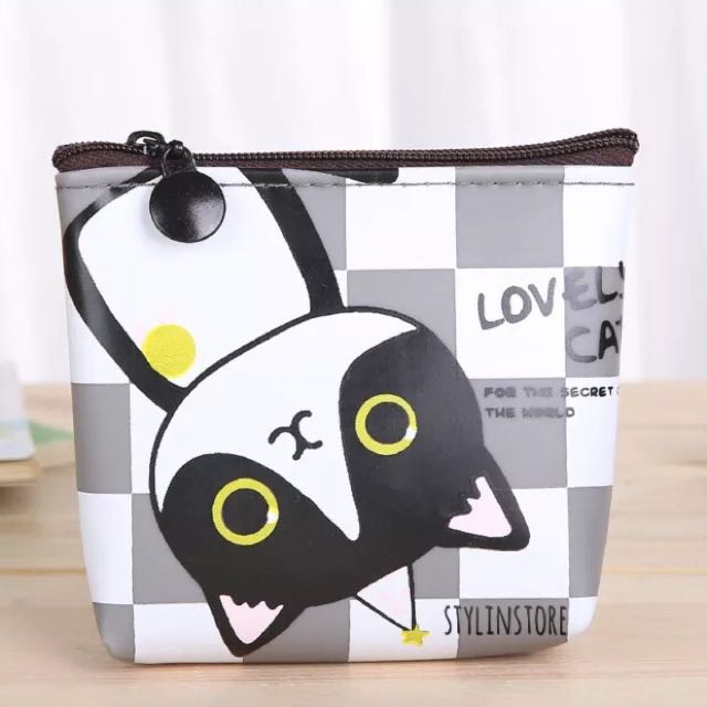 Lovely Cat Coin Purse (Checkered)