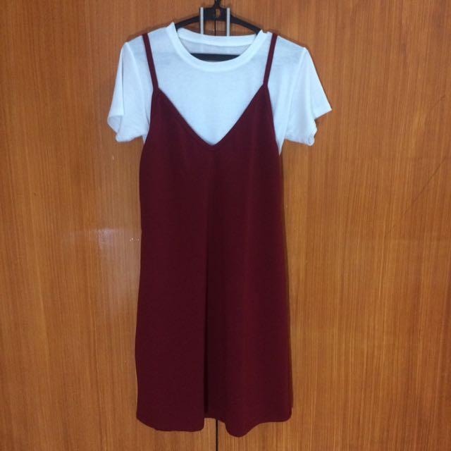 Maroon Dress w White Basic Top