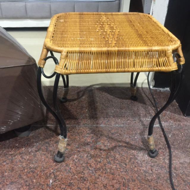 Meja Sudut Rotan Kaki Besi Home Furniture On Carousell