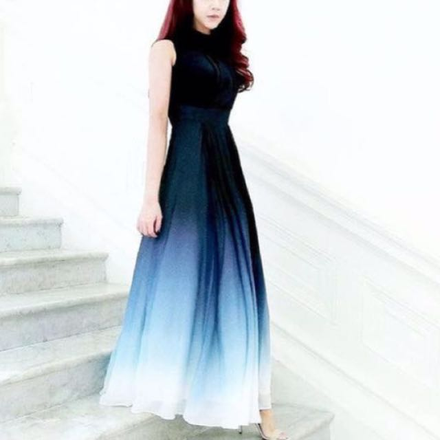 Midnight Blue Ombre Maxi Dress Womens Fashion Clothes Dresses