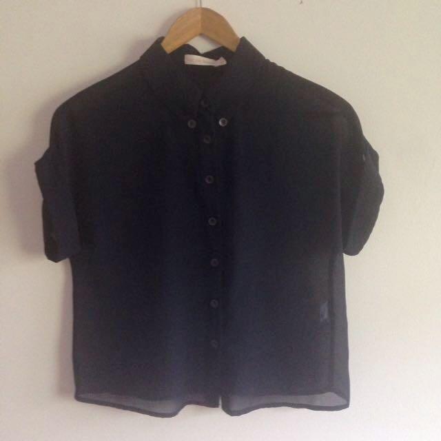 Navy Blue Collared Short Sleeve Shirt - Don't Ask Amanda