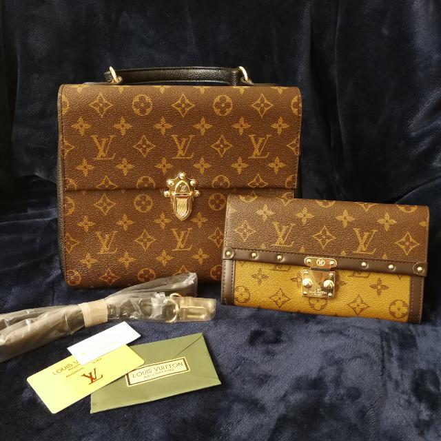 New L V Monogram Bag And Wallet Set