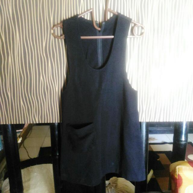 Overall Black Outer Outwear Hitam Dress