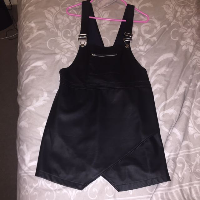 Overall Dress Black Leather