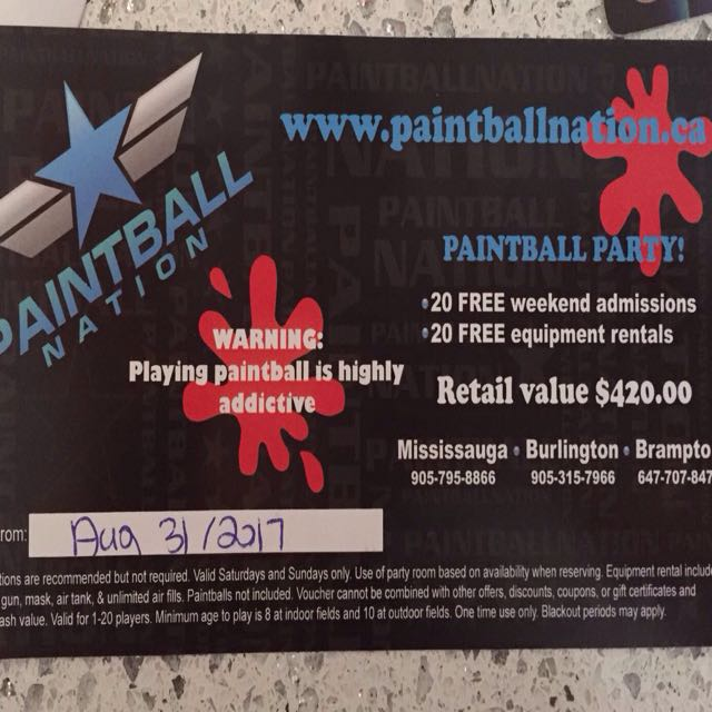 Paintball Party Gift Certificate