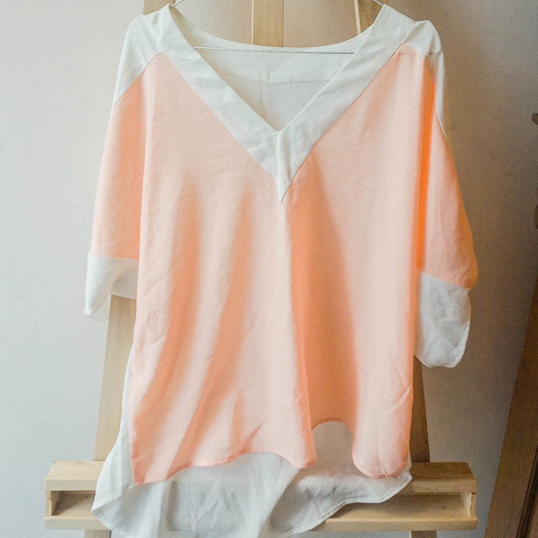 peach chiffon blouse