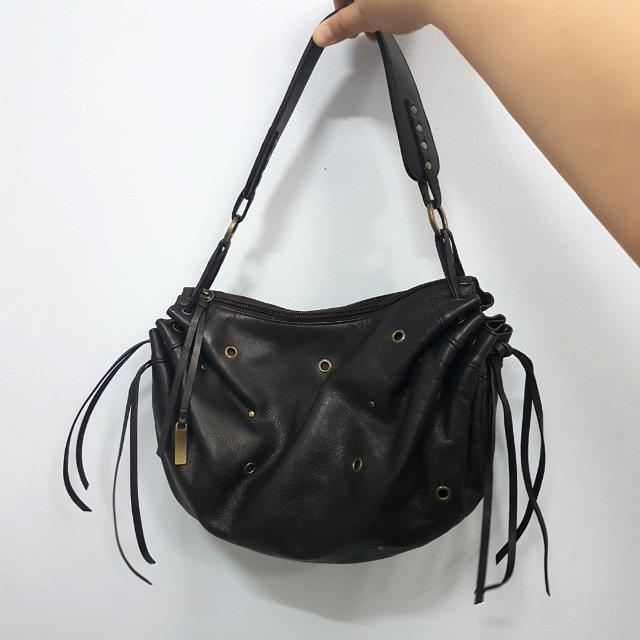 REPRICED Preloved Authentic LANCEL Paris Leather Bag Hobo With Fringe Tassels