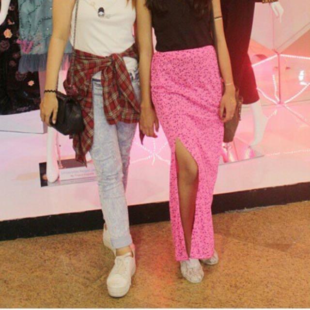 Printed Maxi Skirt with Slit - BOHO/ Bohemian