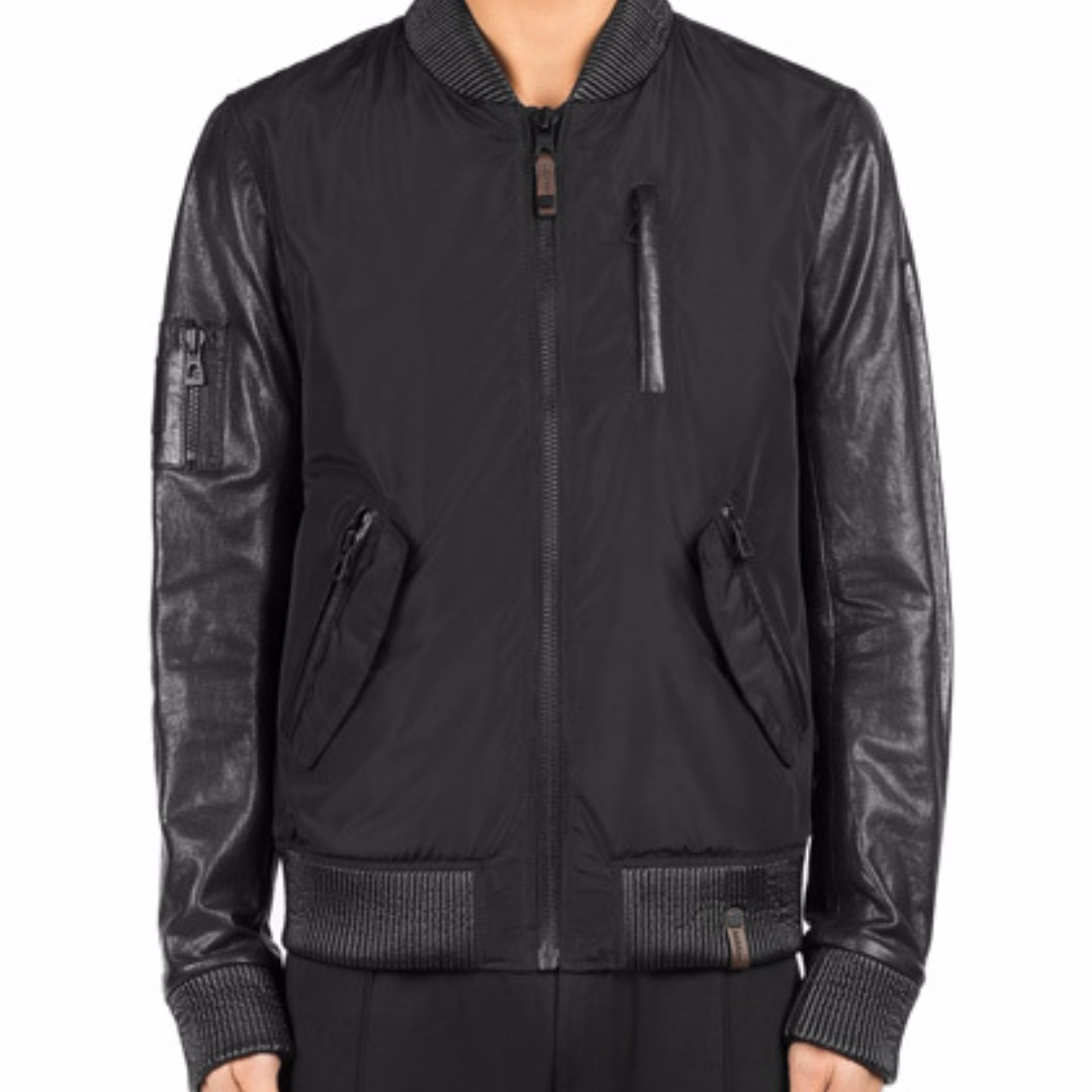 RUDSAK - Eryn Bomber Jacket with Leather Sleeves (M)