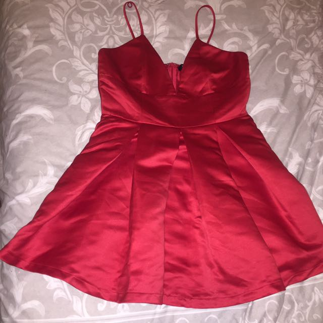Satin Red MISSGUIDED Party Dress
