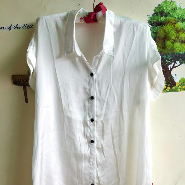Satin White Blouse Brand Cool