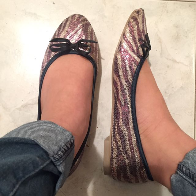 Sequin Flats (silver And Light Purple)