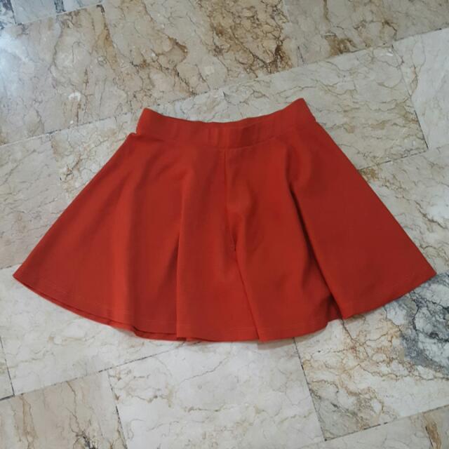 Skort Red Orange Color