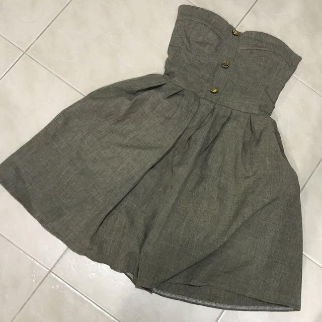 Strapless Corset Button Dress XS 6