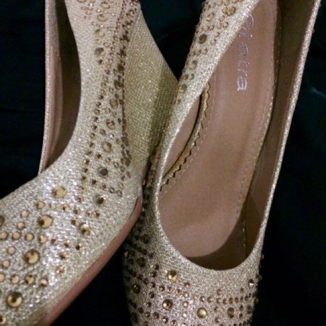 Tatra Gold Wedge Shoes