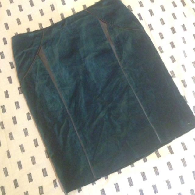 Teal Velvet Pencil Skirt
