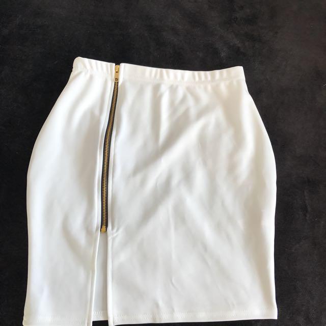 Tight, White Zip Skirt