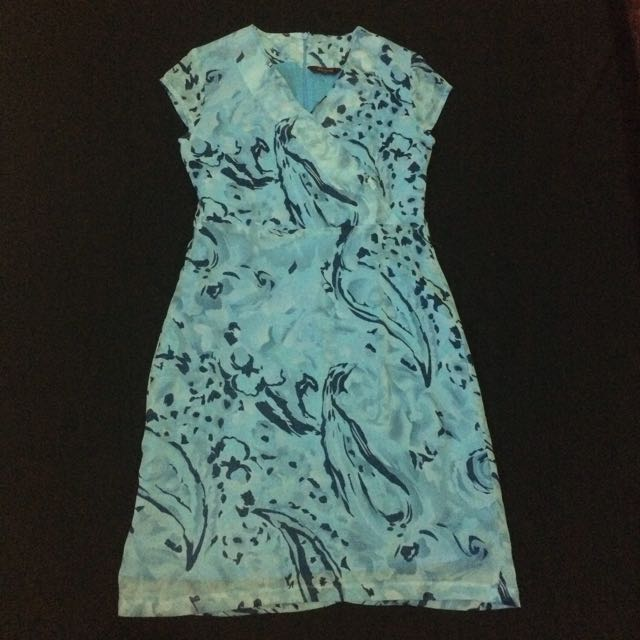 Vintage Abstract Printed Blue Dress