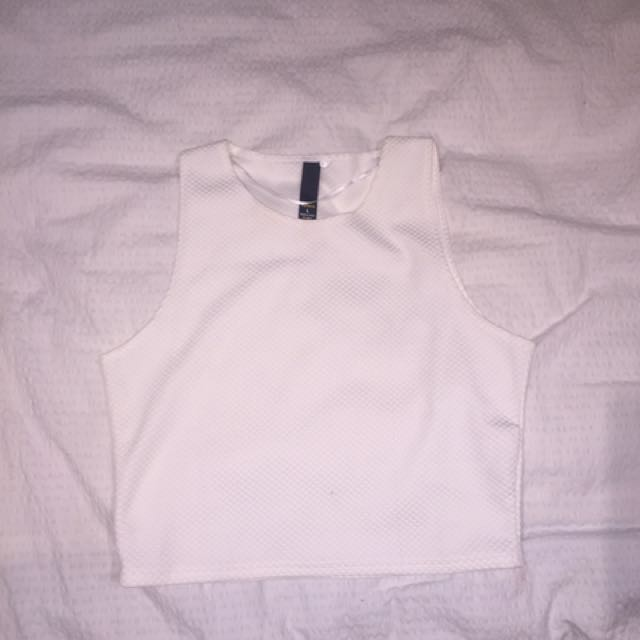White crop top with texture