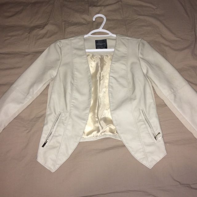 Dynamite White Leather Jacket