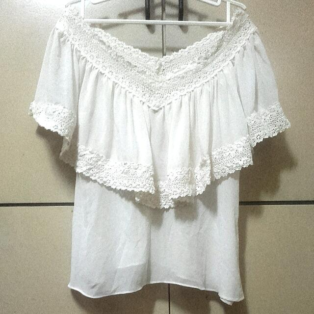 White Laced Off-shoulder Top