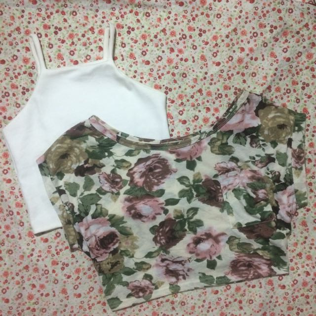 White Too And Floral Croped Top