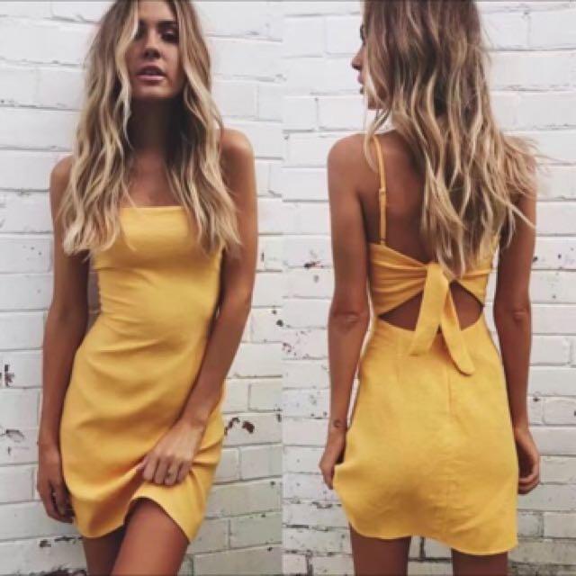 Yellow Linen Dress Tie Back