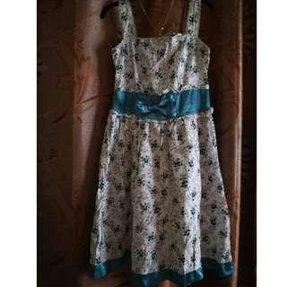 Dark Mint Blue Floral Dress