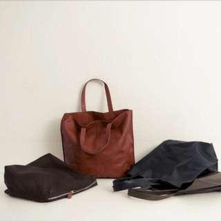 🚚 轉賣 全新 Queen Shop 簡約側背皮質托特包 肩背包 托特包 側背包