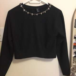 Forever21 Jewel Collar Black Top
