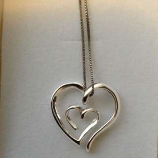 Sterling Silver 925 Pendant Heart With Chain And Box Brand New