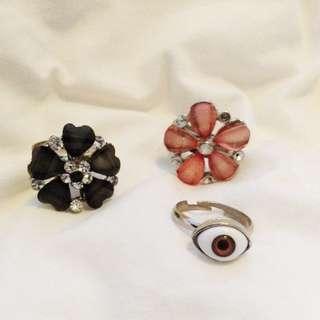 Rings Third Eye And Swarovski Flowers