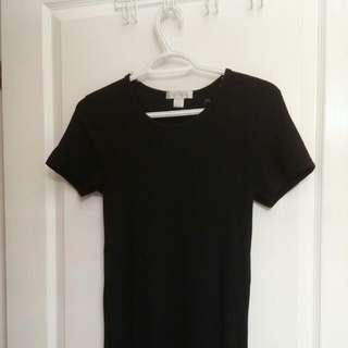 Shortsleeve Long Tunic In Black