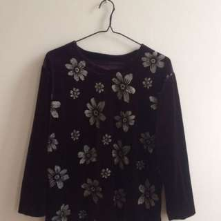 Trophy Velvet Shirt With Sparkly Flowers