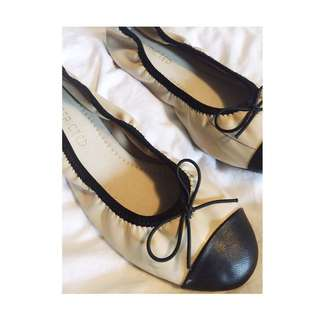 VINTAGE CHANEL INSPIRED LEATHER FLATS