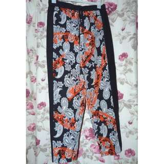 Veronika Maine 100% silk patterned pants euc size 10