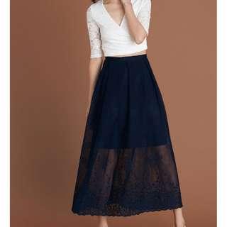 *BRIDGE* Cannes Maxi Skirt in Navy
