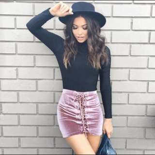 Velvet Lace Up Skirt